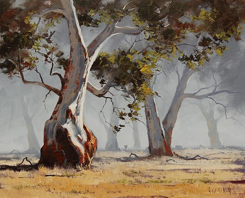 Gum Trees By Graham Gercken, Oil Painting