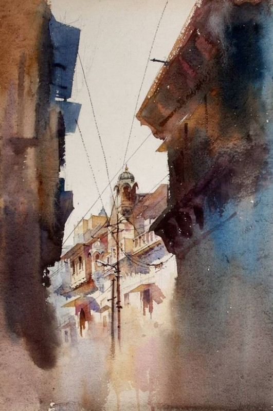 Jaiselmer Alley By Vikrant Shitole, Watercolor Painting
