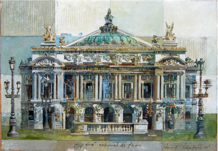 Paris National Opera House By Stuart Robertson, Watercolor Painting