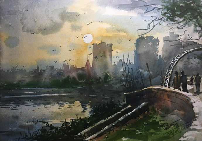 Powai Lake By Prashant Sarkar, Watercolor Painting