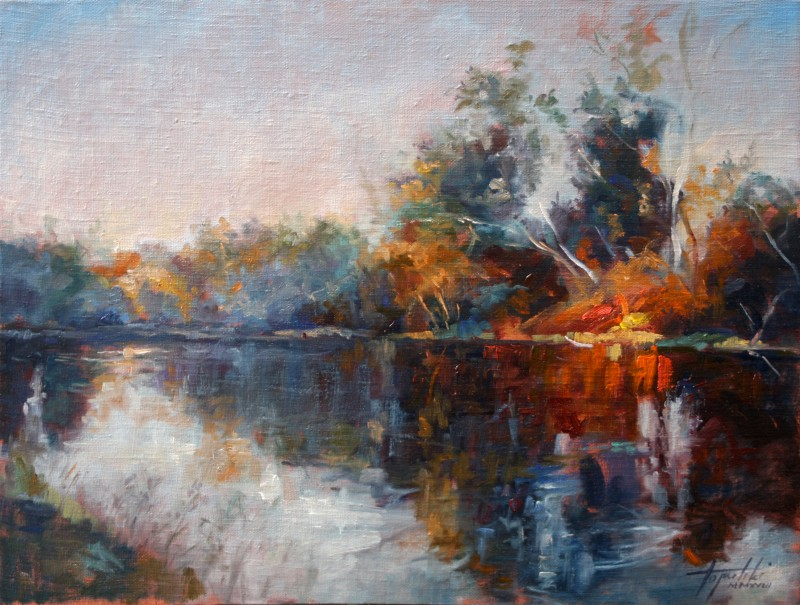 River Reflections By Darko Topalski, Oil Painting