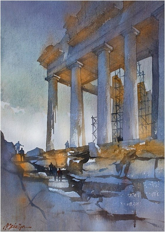 To The Acropolis By Thomas W. Schaller, Watercolor Painting