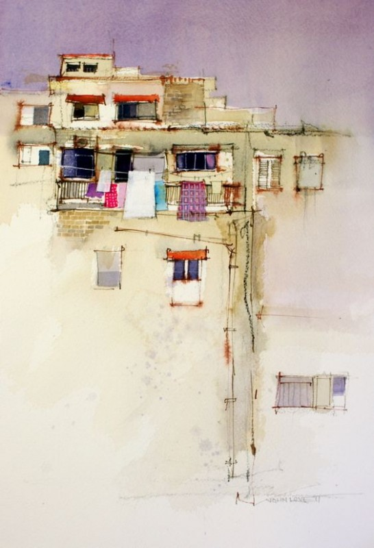 Wall By John Lovett, Watercolor Painting