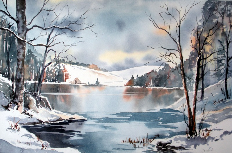 Winter By JE. Ward, Watercolor Painting