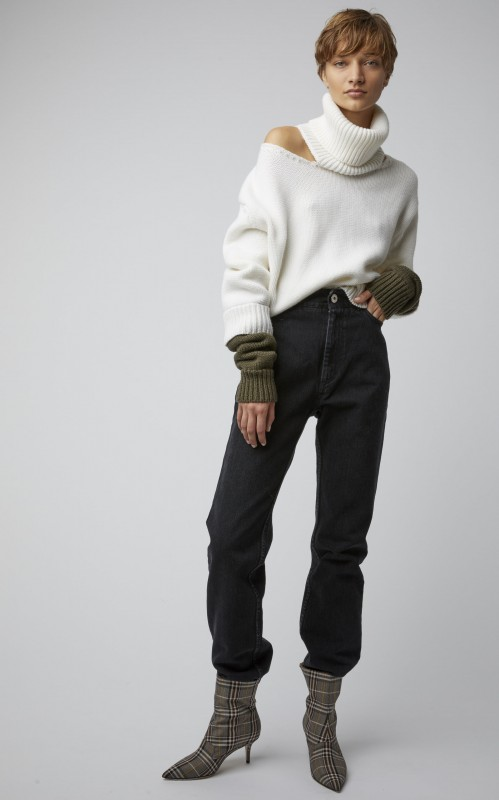 Monse Double-Cuff Cutout Two-Tone Wool Turtleneck
