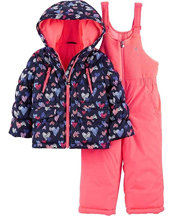 Osh Kosh B'Gosh Little Girls Navy & Pink Heart Print Two-Piece Snowsuit