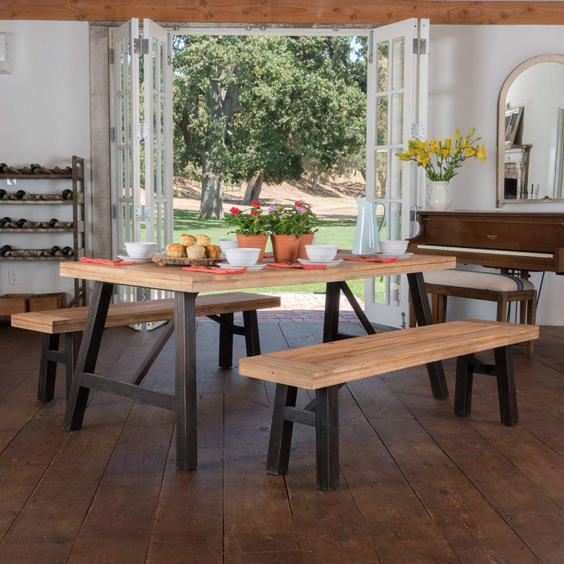 Arlington Acacia Wood Dining Set, Brushed Grey