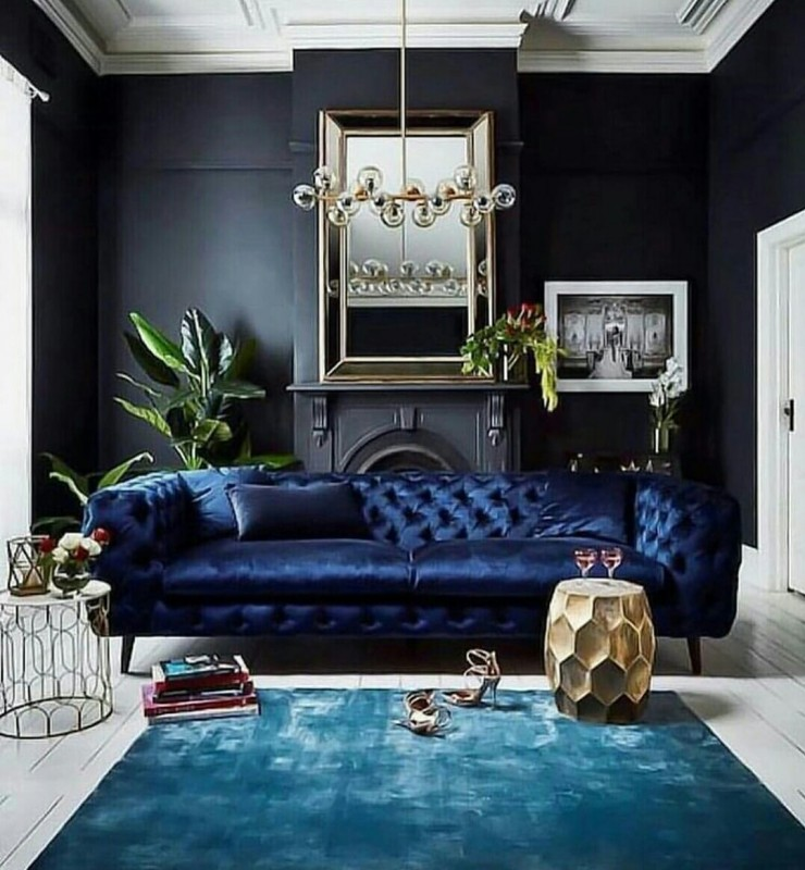 Dark Blue Vintage Couch
