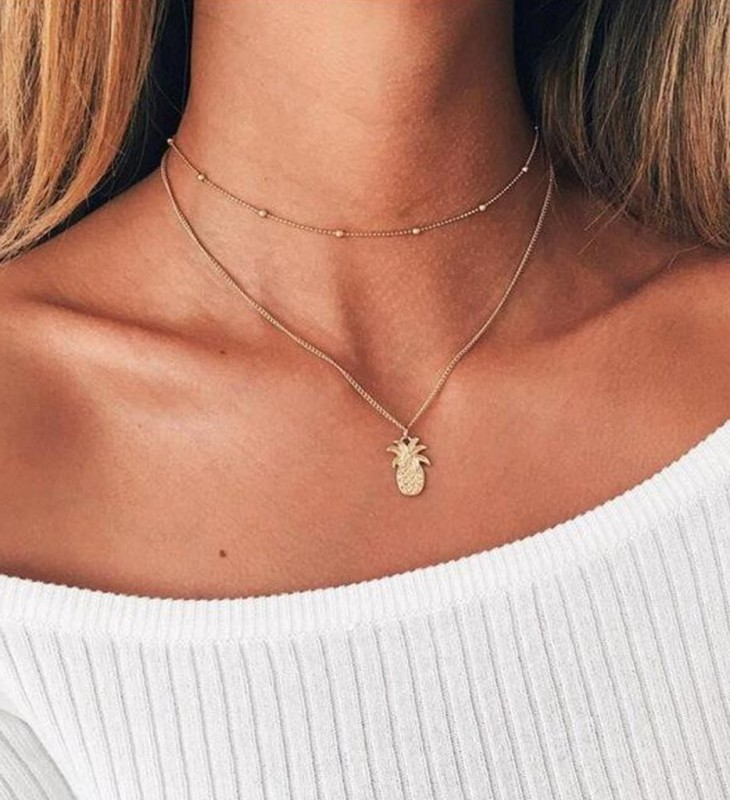 Ananita Double Layered Pineapple Choker Necklace