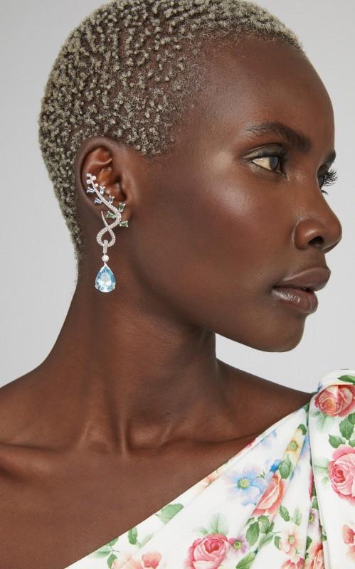 Davidor Feuillage 18K White Gold Multi-Stone Earrings