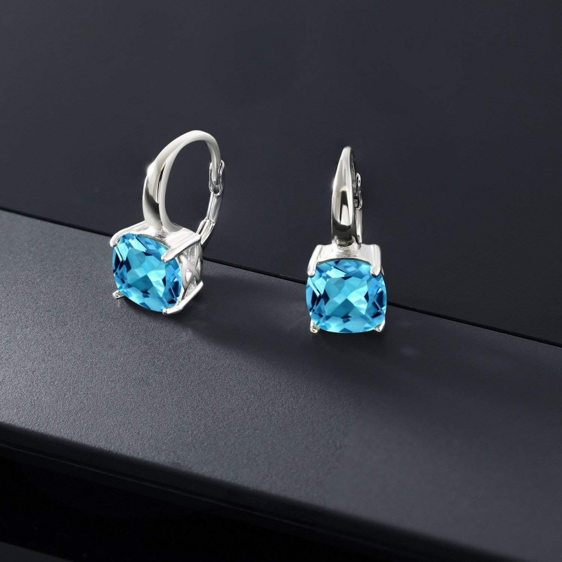 Gemstone King 5.48 Ct Cushion Swiss Blue Topaz 925 Sterling Silver Earrings