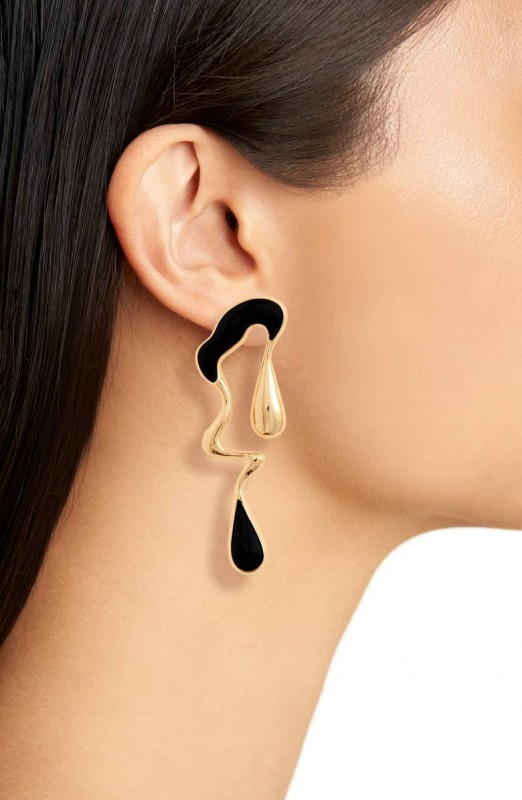 Leith Metal Drip Mismatched Earrings