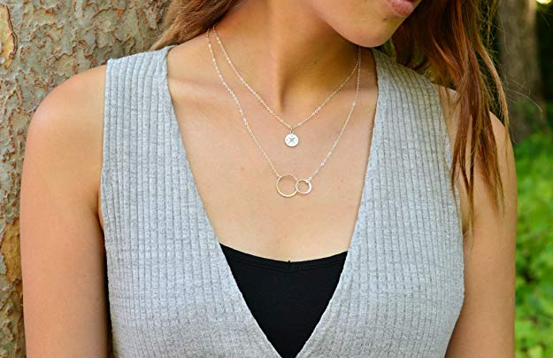 Mother Daughter Necklace - Sterling Silver Two Interlocking Infinity Double Circles