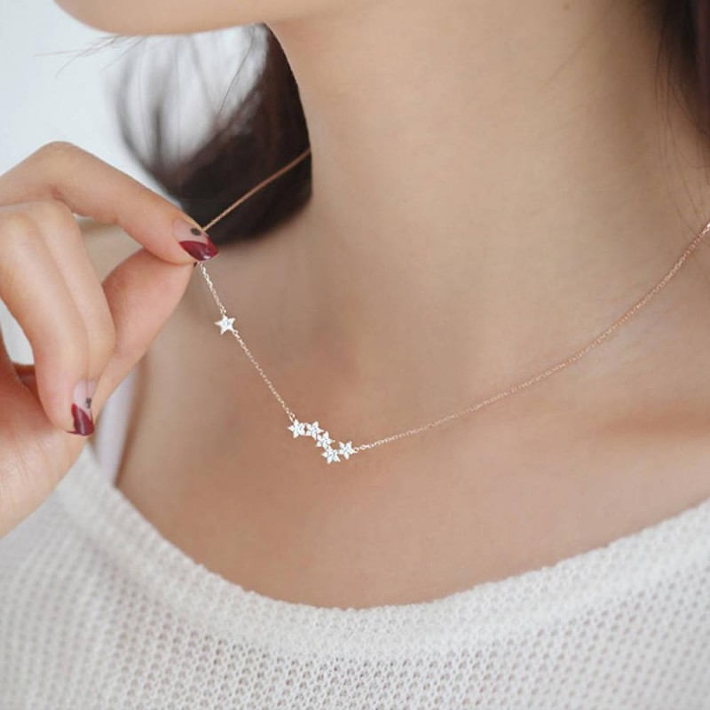 Wonder Cute Crystal Star Floating Pendant Necklace