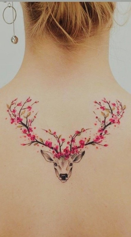 Cherry Blossom Deer Tattoo