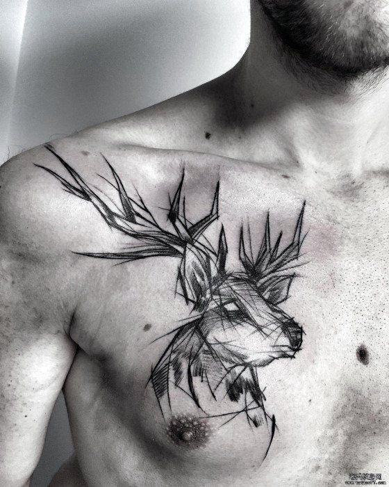 Chest Deer Tattoo With Sketch Design Tattoo Ideas