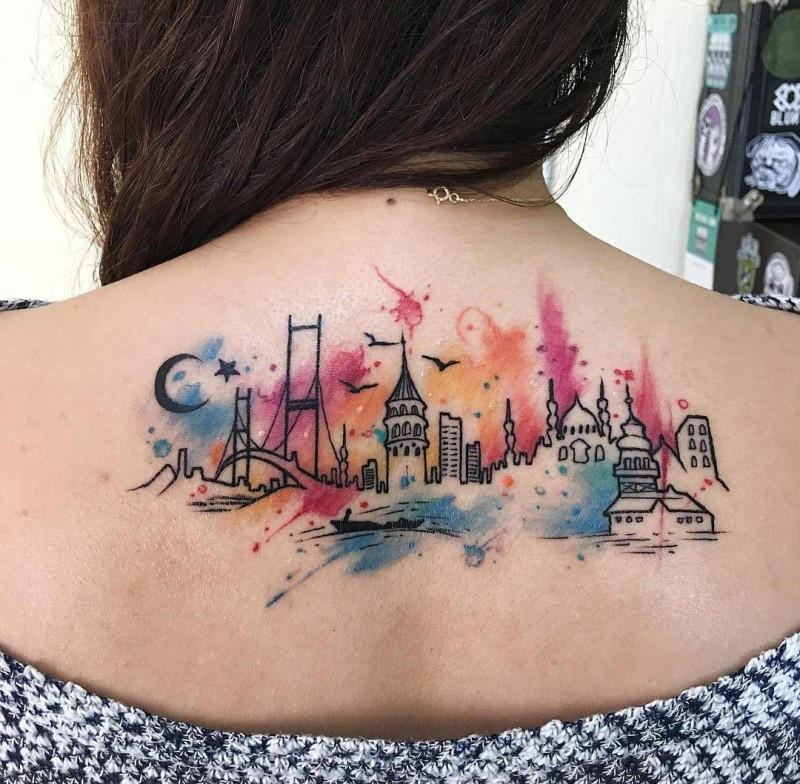 Istanbul City Watercolor Tattoo