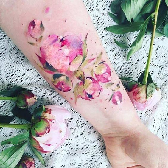 Peony Flower Watercolor Tattoo