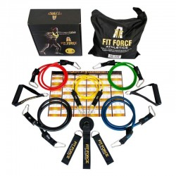 Fit Force Athletics Best Resistance Bands Exercise Equipment Workout Set (15 Pcs)