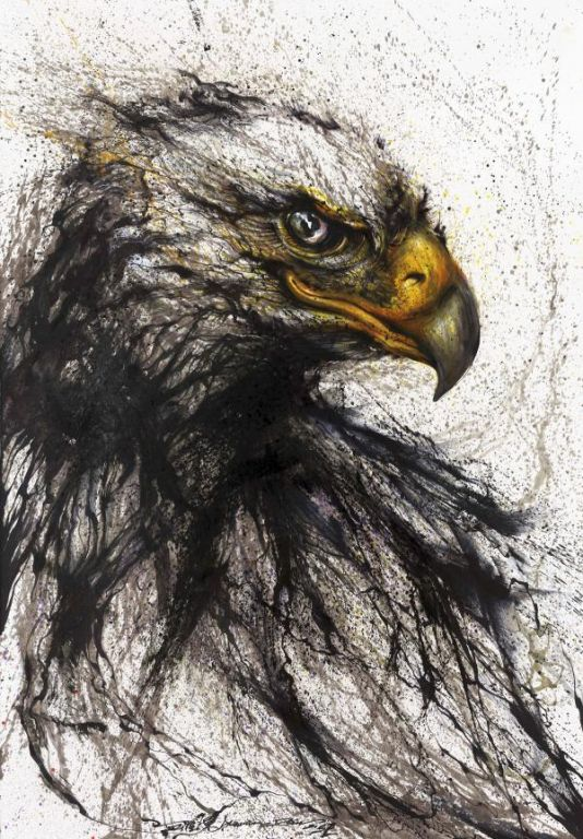 Eagle By Hua Tunan, Ink Painting