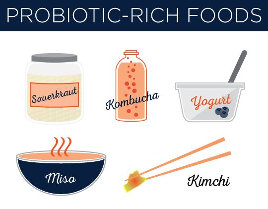 Probiyotikler yönünden zengin besinler: lâhana turşusu, kombucha, yoğurt, miso ve kimchi