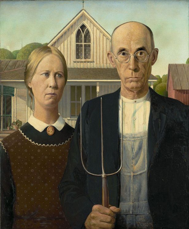 American Gothic By Grant Wood, Oil Painting