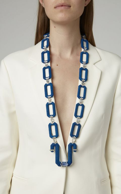 Fabio Salini Leather and Moonstone Necklace