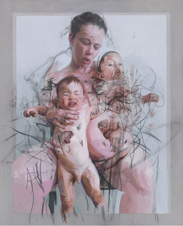 The Mothers by Jenny Saville, Oil and Charcoal