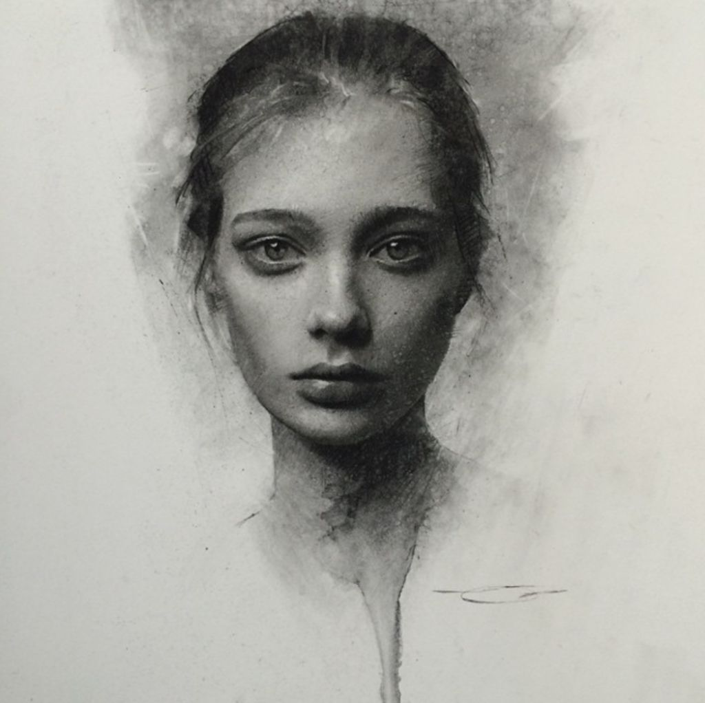 Sad Girl by Casey Baugh, Charcoal Drawing