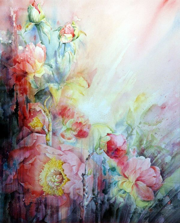 Roses By Marie Claire Moudru, Watercolor Painting