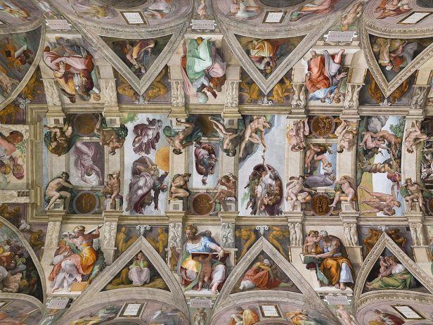 Sistine Chapel Ceiling by Michelangelo, Oil Painting