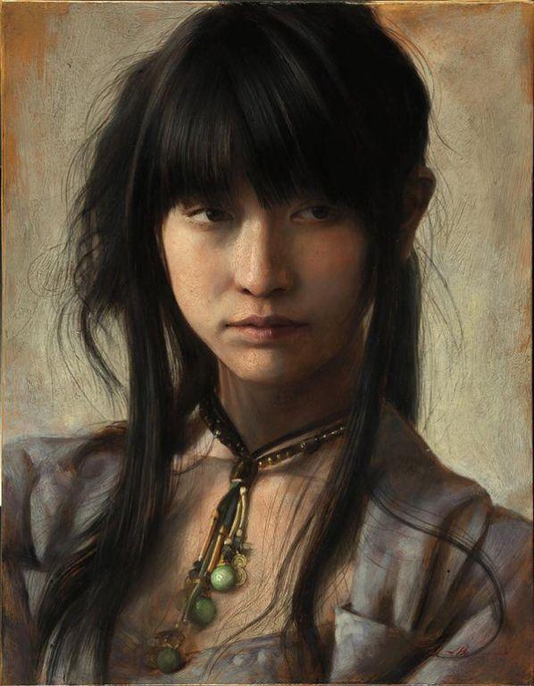 Japanese Girl By Osamu Obi, Oil Painting