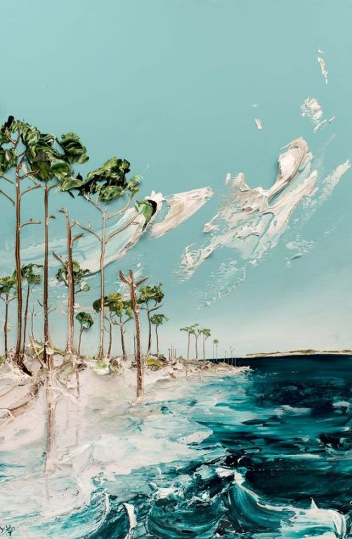 Blue Mountain Beach By Justin Gaffrey, Acrylic Painting