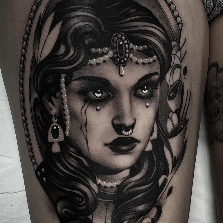 Arabic Girl Tattoo By Cristian Casas