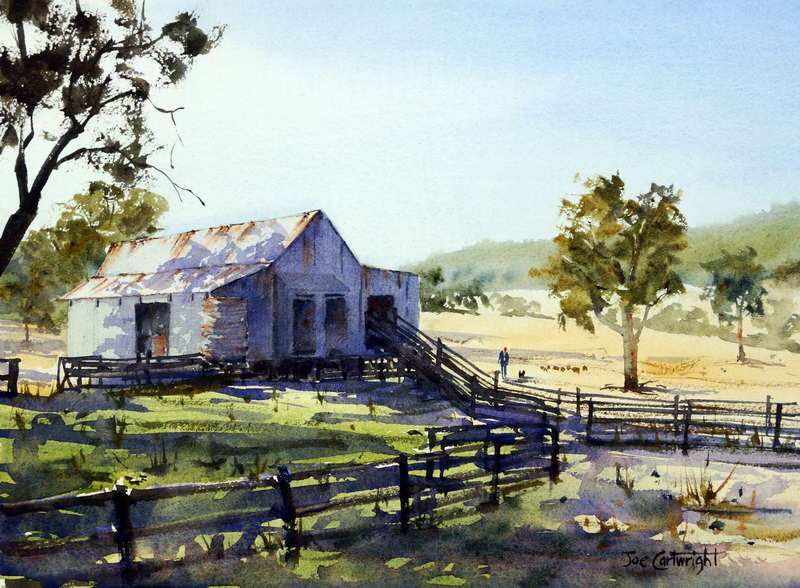 Farm Shed With Morning Light And Shadows By Joe Cartwright, Watercolor Painting
