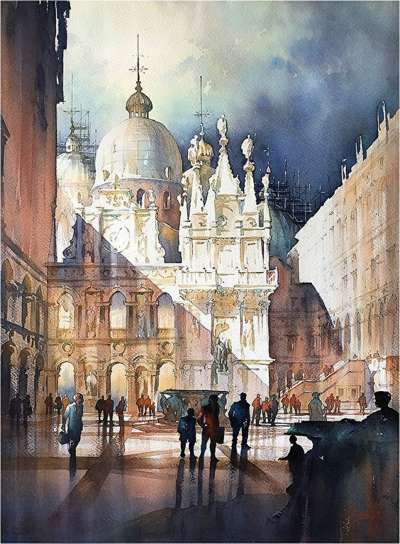 Doge's Palace - Venice by Thomas W. Schaller, Watercolor Painting