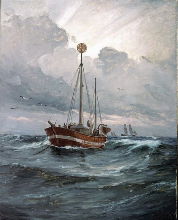 The Lightship at Skagen Reef by Carl Locher, Oil Painting
