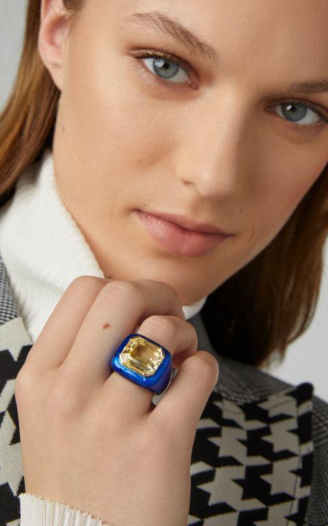 Sabbadini Gold, Bronze And Sapphire Ring