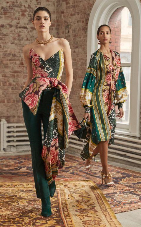 Oscar de la Renta Strapless Asymmetric Floral-Print Silk-Blend Top