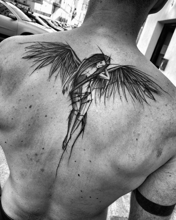 Angel Sketch Tattoo For Shoulder