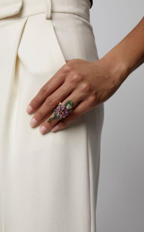 Wendy Yue 18K Rose Gold, Tsavorite, Sapphire, Diamond And Ruby Ring