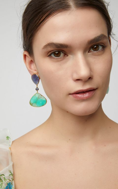 Bahina Gold, Tanzanite, Lolith and Chrysoprase Earrings