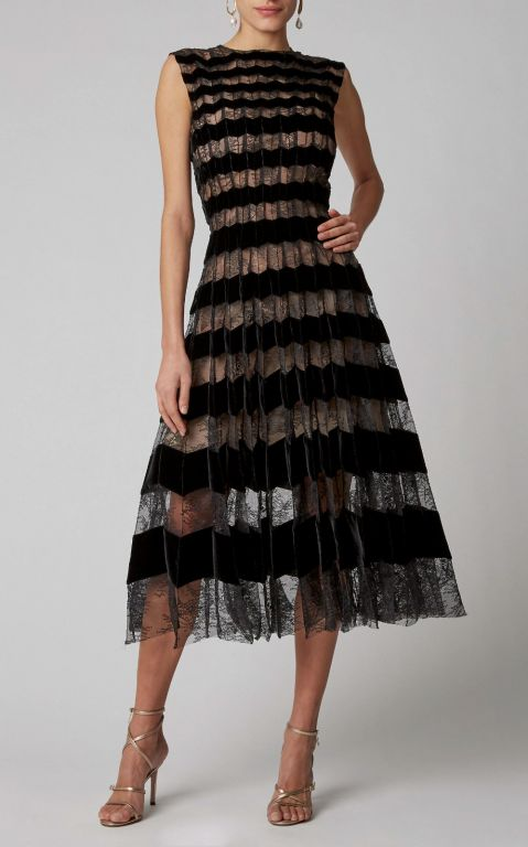 Oscar de la Renta Striped Pleated Lace Midi Dress