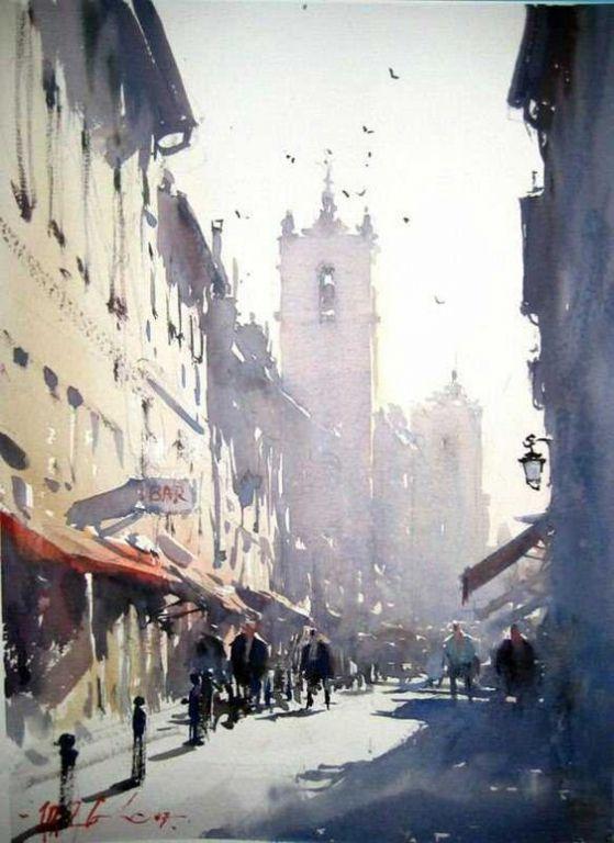Beautiful Street by Joseph Zbukvic, Watercolor Painting
