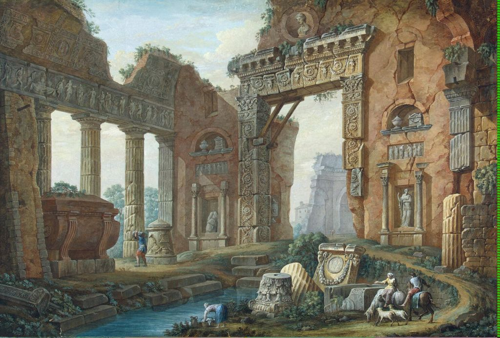 The Architectural Fantasy By Clerisseau Charles-Louis, Oil Painting