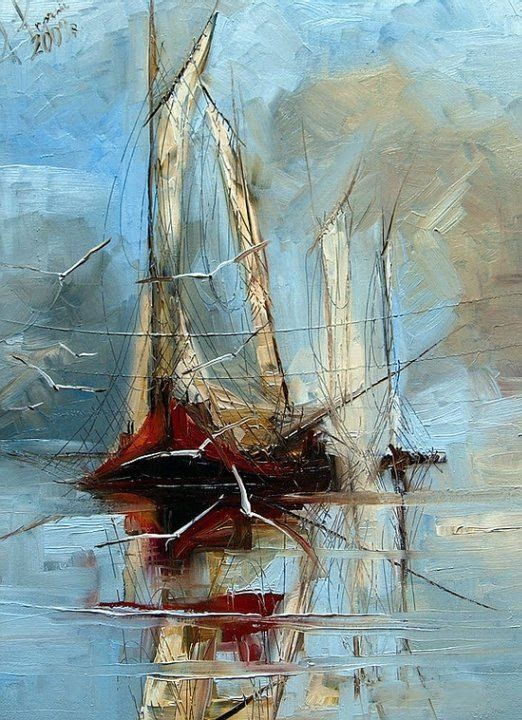 Seagulls And Sailboat By Justyna Kopania, Oil Painting