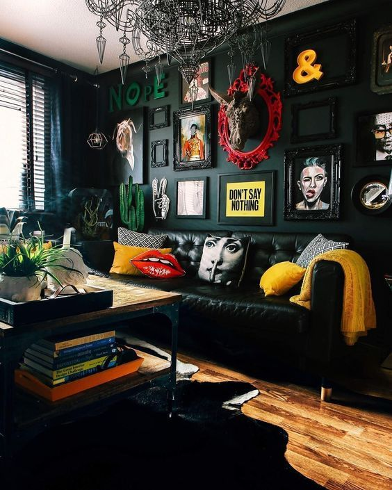 Black Themed Living Room With Splashes Of Color