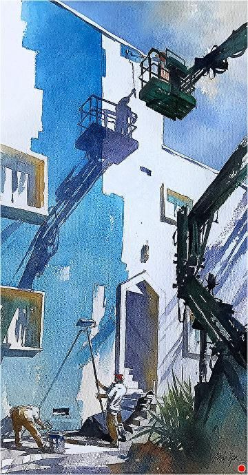 Almost Blue by Thomas W. Schaller, Watercolor Painting